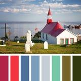 Tadoussac教堂调色板 免版税库存图片
