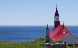 Tadoussac Canada. Tadoussac, the church and the river Royalty Free Stock Image