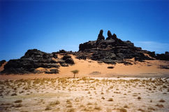 Tadrart. Typical tadrart landscape, south of algeria Stock Image