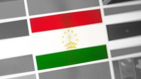 Tadschikistan-Staatsflagge des Landes Tadschikistan-Flagge auf der Anzeige, ein digitaler Wässerungseffekt lizenzfreie stockfotos