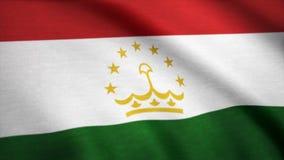 Tadzjikistan flagga som vinkar i vinden Bakgrund med grov textiltextur Vinkande animering för Tadzjikistan flagga djur Royaltyfri Foto