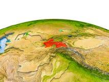Tadzjikistan op model van Aarde Royalty-vrije Stock Fotografie