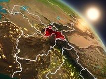 Tadzjikistan van ruimte tijdens zonsopgang Royalty-vrije Stock Afbeeldingen
