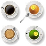 Tae and coffee cups. Vector EPS 10. Realistic vector illustration of tea and coffee cups on plate with spoon. Isolated object, element for design. EPS 10 Royalty Free Stock Photo