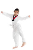 Tae Kwon Do Asian girl on white background. Stock Photography