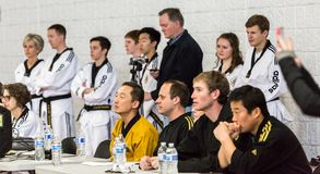 Tae Kwon Do. Denver, Colorado, USA-February 21, 2016. Tae Kwon Do testing for verious degree of black belts Royalty Free Stock Photo