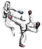 Tae-Kwon Do Eine lebensgroße Hand gezeichnete Illustration Stockfotos