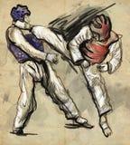 Tae-Kwon Do Eine lebensgroße Hand gezeichnete Illustration Lizenzfreie Stockfotografie