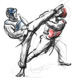 Tae-Kwon Do. An full sized hand drawn illustration Stock Photography
