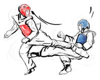 Tae-Kwon Do. An full sized hand drawn illustration. An full sized hand drawn illustration (original drawing on white) from series Martial Arts: Taekwon-Do (is a stock illustration