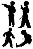 Tae kwon Do silhouettes. Silhouettes of young boy in four different Tae Kwon Do poses Stock Image