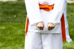 Tae Kwon Do. Student practicing in the park Royalty Free Stock Image