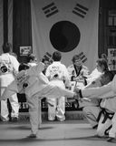 Tae Kwon Do students in Cedar Rapids, Iowa, testing for promotion Stock Photo
