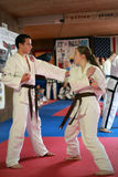 Tae Kwon Do students test for belts Stock Photo