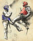 Tae-Kwon Do Un ejemplo dibujado mano del mismo tamaño Foto de archivo libre de regalías