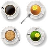 Tae y tazas de café Vector EPS 10 Foto de archivo libre de regalías