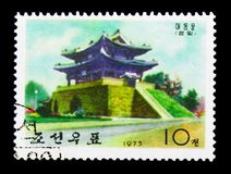 Taedong gate, Ancient wall-gates of Pyongyang serie, circa 1975. MOSCOW, RUSSIA - NOVEMBER 25, 2017: A stamp printed in Korea shows Taedong gate, Ancient wall Royalty Free Stock Photos