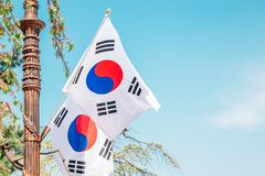 Taegeukgi, Korean national flag in Seoul National Cemetery. Taegeukgi Korean national flag in Seoul National Cemetery royalty free stock images