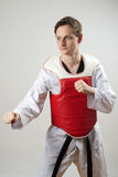 Taekwon-Do fighter. Taekwon-Do champoin on a grey background with red protector body vest Stock Photos