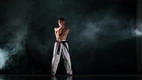 Taekwondo ή karate κατάρτισης ατόμων στο Μαύρο αργός φιλμ μικρού μήκους