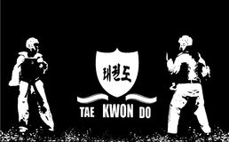 Taekwondo. Logo in black and white illustration Stock Photo