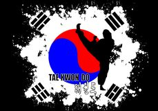 Taekwondo. Sport with flag of Korea Royalty Free Stock Images