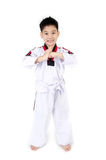 Taekwondo action  by a asian cute boy Royalty Free Stock Images