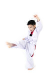 Taekwondo action  by a asian cute boy Stock Image