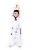 Taekwondo action  by a asian smile  boy Royalty Free Stock Images