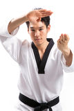 Taekwondo action. By a young man royalty free stock photos