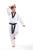 Taekwondo action. By a young man stock images
