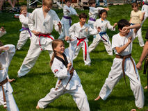 TaeKwonDo. Belt test at J.W. Kim TaeKwonDo School. At the park in Greenwood Village, Colorado. June 2011 Royalty Free Stock Photos