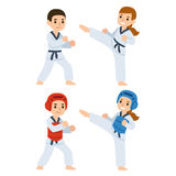 Taekwondo cartoon kids. Boy and girl fighting in kimonos and taekwondo uniform. Martial arts for kids illustration Royalty Free Stock Photo