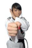Taekwondo. Donna in un kimono Immagine Stock