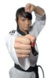 Taekwondo. Donna in un kimono Fotografia Stock