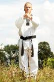 Taekwondo fighter outdoor Royalty Free Stock Photo