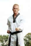 Taekwondo fighter outdoor Stock Photos