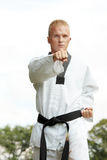 Taekwondo fighter outdoor Royalty Free Stock Photography