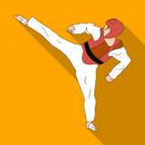 Taekwondo fighter in white kimono and red protection sports.Olympic sports single icon in flat style vector symbol stock Royalty Free Stock Image