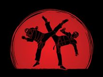 Taekwondo fighting battle. Illustration graphic vector Stock Image