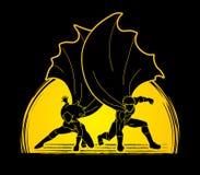 Taekwondo jump kick action with guard equipmentStrong Man and Woman, Couple Superhero landing powerful action Royalty Free Stock Images