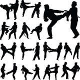 Taekwondo kobiety sylwetki wektor Obrazy Stock