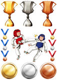 Taekwondo and many trophies and medals. Illustration Royalty Free Stock Image