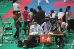 The Taekwondo match referee on site Royalty Free Stock Image
