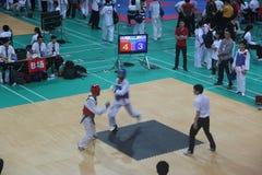 The Taekwondo match referee on site Royalty Free Stock Images