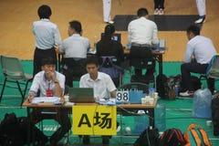 The Taekwondo match referee on site Stock Photos