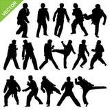 Taekwondo silhouettes vector Royalty Free Stock Image