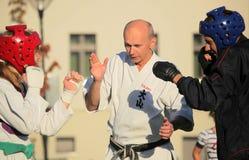 Taekwondo slagsmål fotografering för bildbyråer