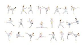Taekwondo sport set. People in uniform with movement Stock Image