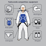 Taekwondo-Sportwettbewerbsausrüstung Stockbilder